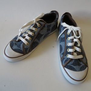 NWT COACH BLUE JACQUARD BROWN LEATHER SNEAKERS 7.5